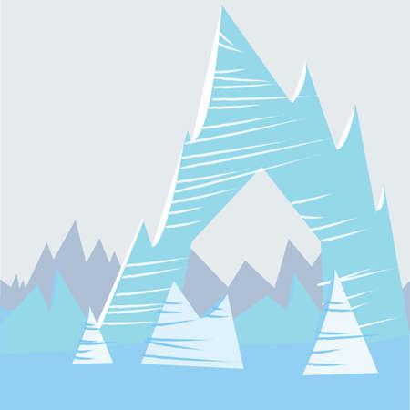 Blue cartoon mountain background