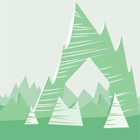 Green cartoon mountain background