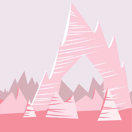 Pink Cartoon Mountain Background Çizim