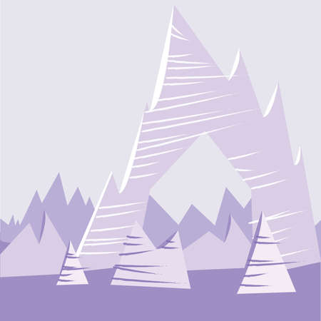 cliffs: Purple Cartoon Mountain Background