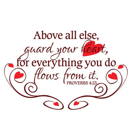 Proverbs 4:23 Guard Your Heart Inspirational Scripture Typography in Red