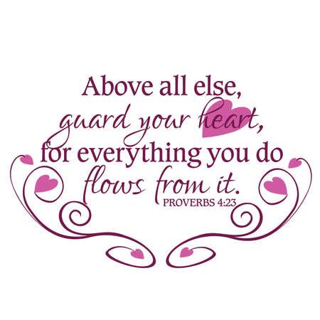 Proverbes 4:23 Garde ton Coeur inspirée Écriture Typographie dans le pourpre Banque d'images - 57202940