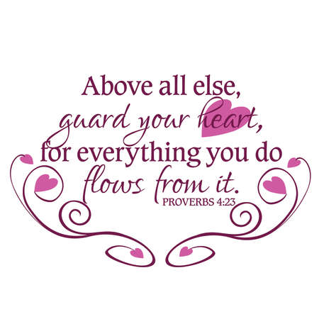 proverbs: Proverbs 4:23 Guard Your Heart Inspirational Scripture Typography in Purple