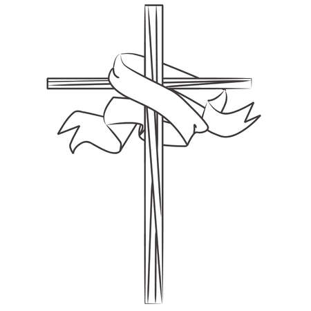 Coloring Book Stained Glass Cross with Banner