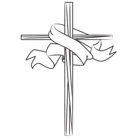 Coloring Book Vitrail Croix avec Bannière Banque d'images - 57536347