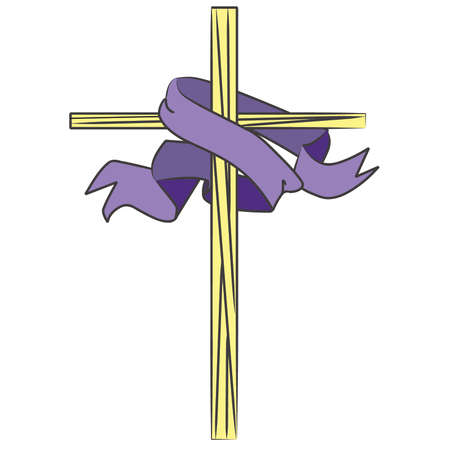 Stained Glass Cross with Banner