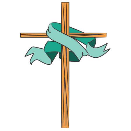 Vitrail Croix avec Bannière Banque d'images - 57536345