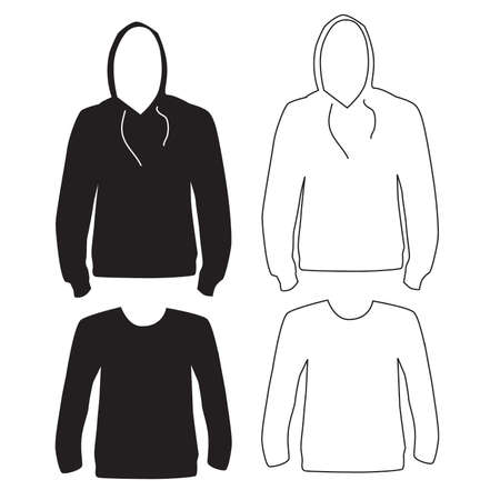 Hoodie and Long Sleeve Shirt Silhouette and Outline