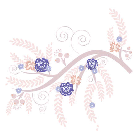 Retro Purple Blooming Tree with Blue and Pink Flowers