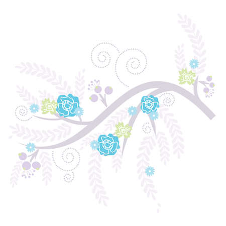 blooming: Retro Lilac Blooming Tree with Blue and Green flowers Illustration