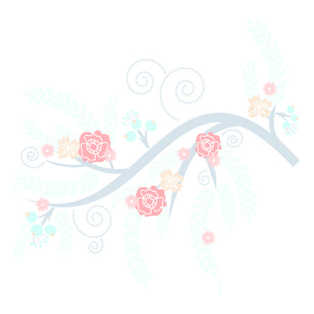 biege: Retro Blue Blooming Tree with Pink and Cream flowers Illustration