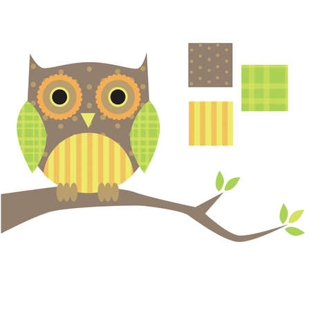 Retro Patterned Owl on a Branch