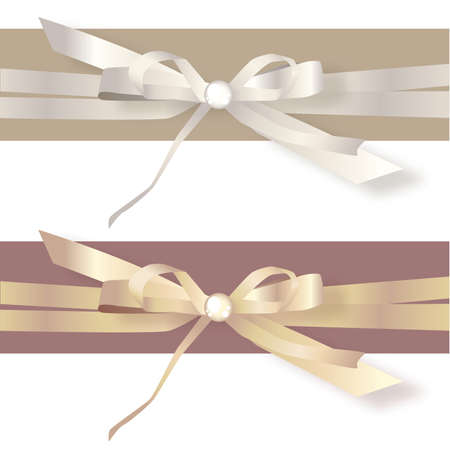satin ribbon: Gold and Silver Satin Ribbon Bows Illustration