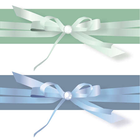 Green and Blue Stain Ribbon bows