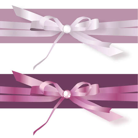 Lilac and Purple Satin Ribbon Bows
