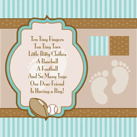 Mint Green and Brown Retro Boys Shower Invite Elements Illustration