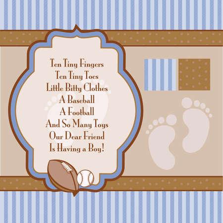 아기 파란색과 갈색 복고풍 소년 샤워 초대 요소 일러스트