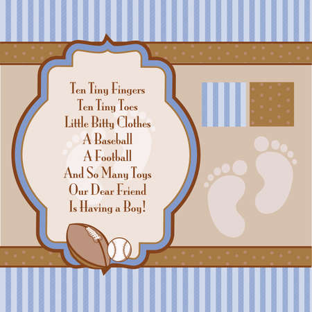 Baby Blue and Brown Retro Boys Shower Invite Elements
