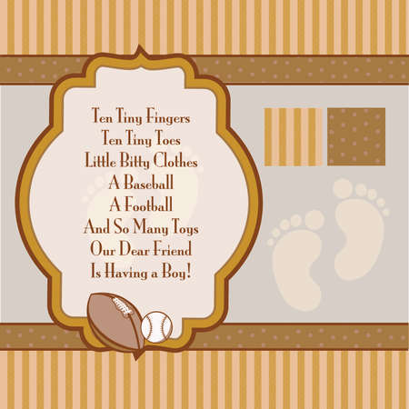 Orange and Brown Retro Boys Shower Invite Elements