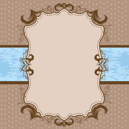 Vintage Framed Shower or Wedding Invite with Light Blue Ribbon