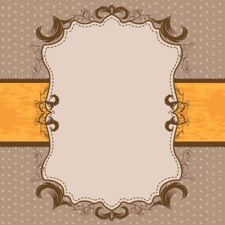 빈티지 액자 샤워 또는 웨딩 초대 오렌지 리본