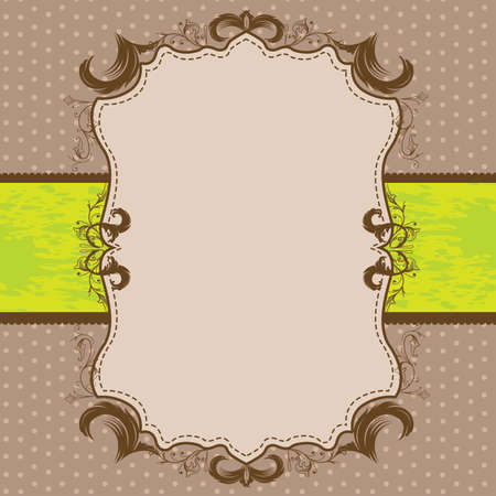 green ribbon: Vintage Framed Shower or Wedding Invite with Lime Green Ribbon
