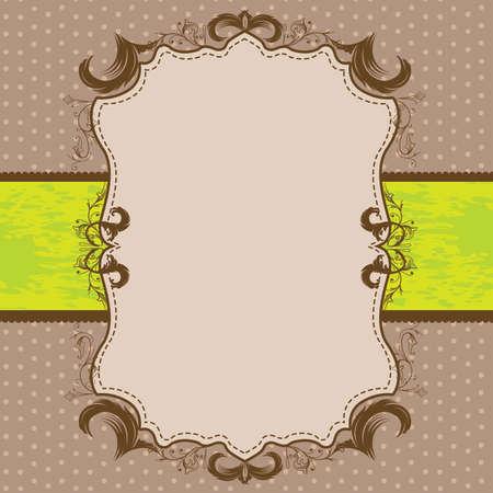 Vintage Framed Shower or Wedding Invite with Lime Green Ribbon
