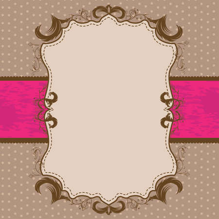 Vintage Framed Shower or Wedding Invite with Bright Pink Ribbon