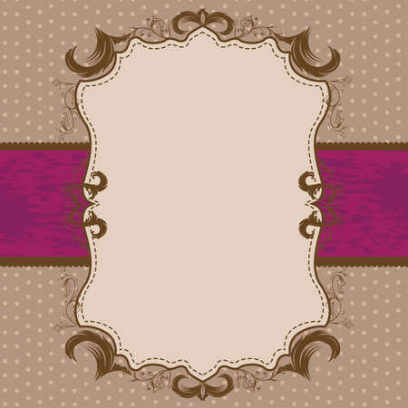 purple ribbon: Vintage Framed Shower or Wedding Invite with Bright Purple Ribbon