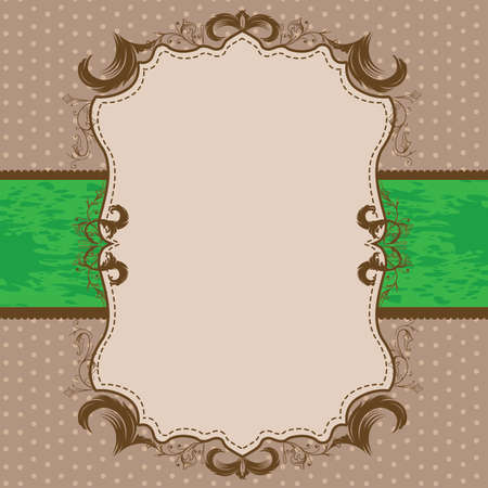 Vintage Framed Shower or Wedding Invite with Bright Green Ribbon