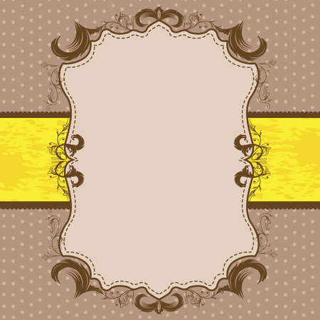 Vintage Framed Shower or Wedding Invite with Yellow Ribbon