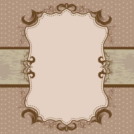 green ribbon: Vintage Framed Shower or Wedding Invite with Sage Green Ribbon Illustration