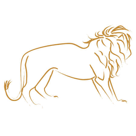 Brush Stroke Style Lion Outline Line Art Ilustracja