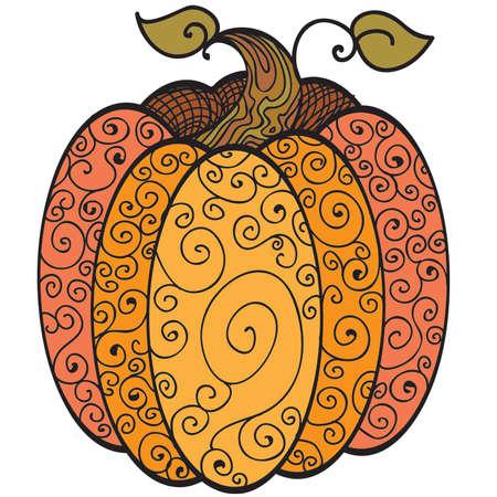 Swirls Harvet Pumpkin Coloring Sheet in Color