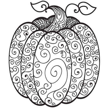 Swirls Harvest Pumpkin Coloring Book Line Art Royalty Free Cliparts ...