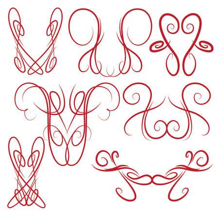 pinstripe: Decorative Symmetrical Pinstripe Style Swirls Elements, red