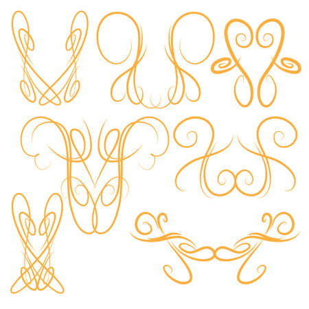 Decorative Symmetrical Pinstripe Style Swirls Elements, Orange Иллюстрация