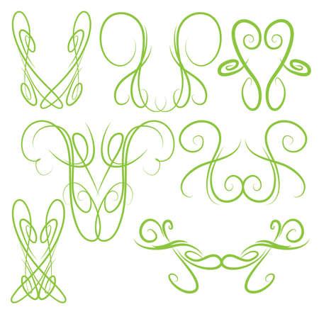장식 대칭 핀 스트라이프 스타일 소용돌이 모양의 요소, 밝은 녹색 일러스트