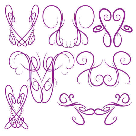 Decorative Symmetrical Pinstripe Style Swirls Elements, Purple Иллюстрация