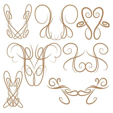 pinstripe: Decorative Symmetrical Pinstripe Style Swirls Elements, Brown