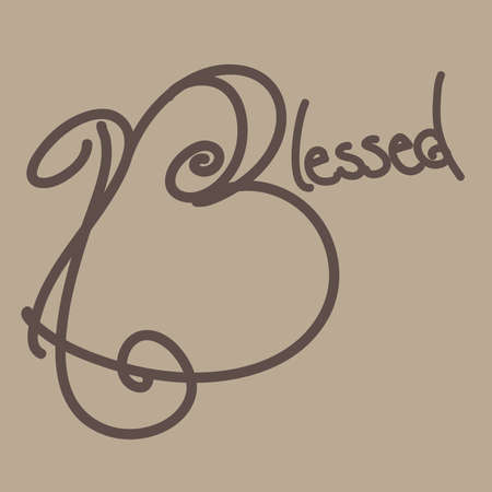 Blessed Hand Drawn Typography, Brown 向量圖像