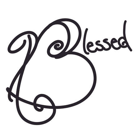 Blessed Hand Drawn Typography, Black and White