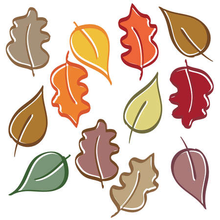 Hand Drawn Autum Fall Leaves Vector pack