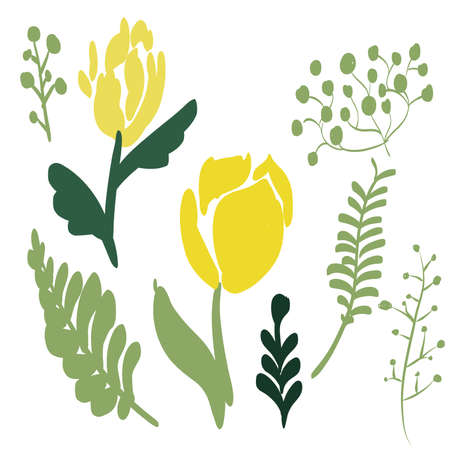 Retro Brush Stroke and hand drawn foliage and fern set, yellow