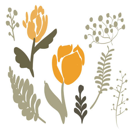 Retro Brush Stroke and hand drawn foliage and fern set, orange
