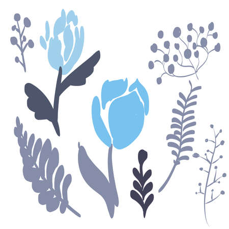 Retro Brush Stroke and hand drawn foliage and fern set, blue