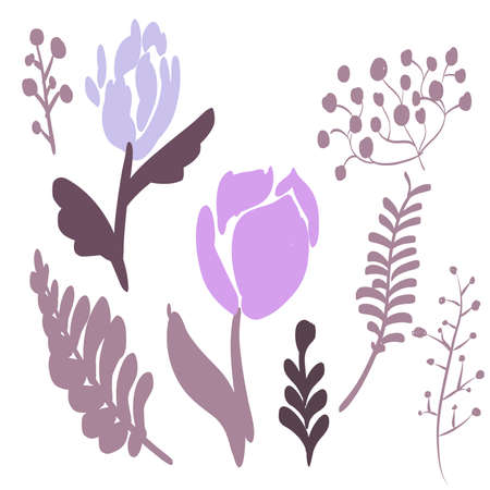 Retro Brush Stroke and hand drawn foliage and fern set, purple