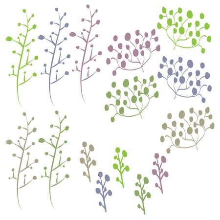 Retro Hand Drawn Foliage Set Çizim