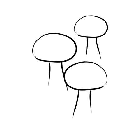 Hand Drawn Button Mushrooms, Black and white