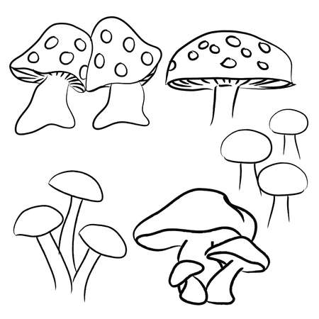 Hand Drawn Mushrooms pack, black and white